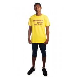 T-shirt Chrétien et Fière de l'Etre jaune